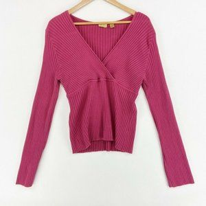 Caslon Sweater Pink Textured Ribbed Stretch L